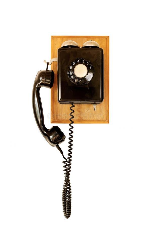 Vecchio telefono nero fotografia stock libera da diritti