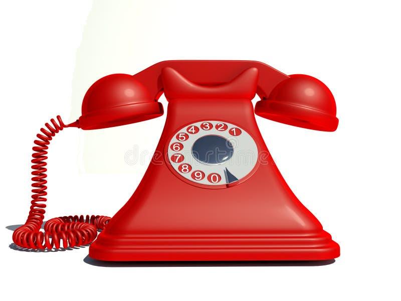 Vecchio telefono rosso fotografia stock