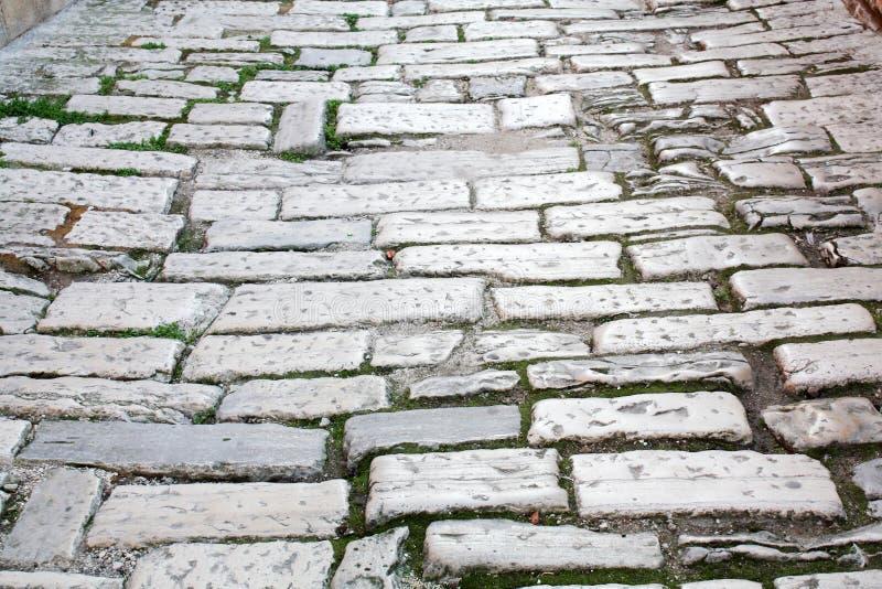 Vecchio tempo di Roman Empire della strada La Croazia Pola fotografie stock