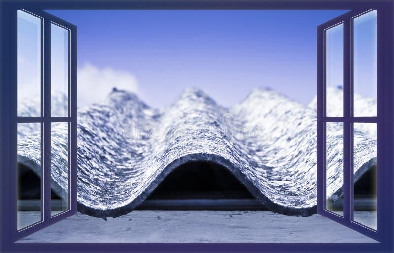 Vecchio tetto pericoloso invecchiato dell'amianto - uno dei materiali più pericolosi in costruzioni cosiddette 'hidden il kille illustrazione di stock