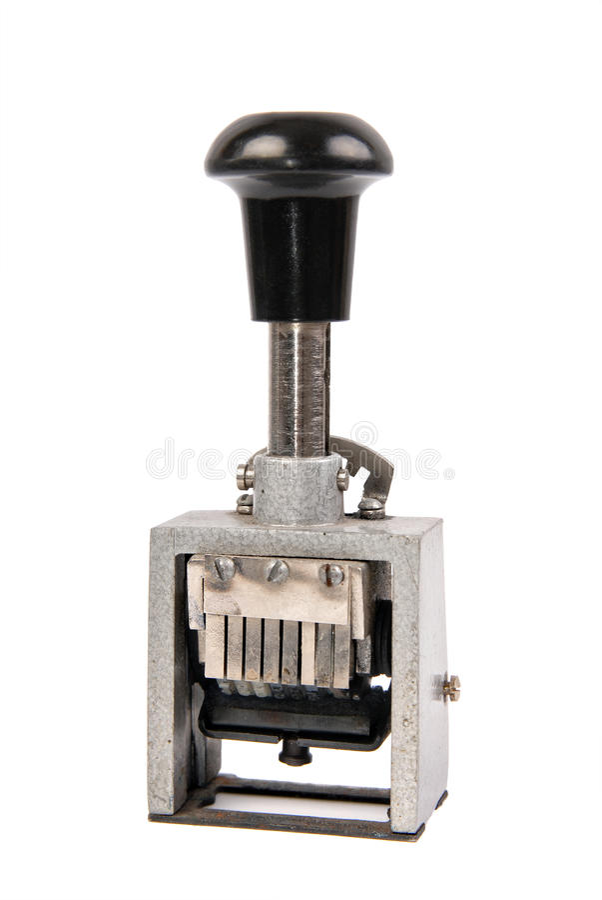Vecchio timbro di gomma del metallo immagine stock