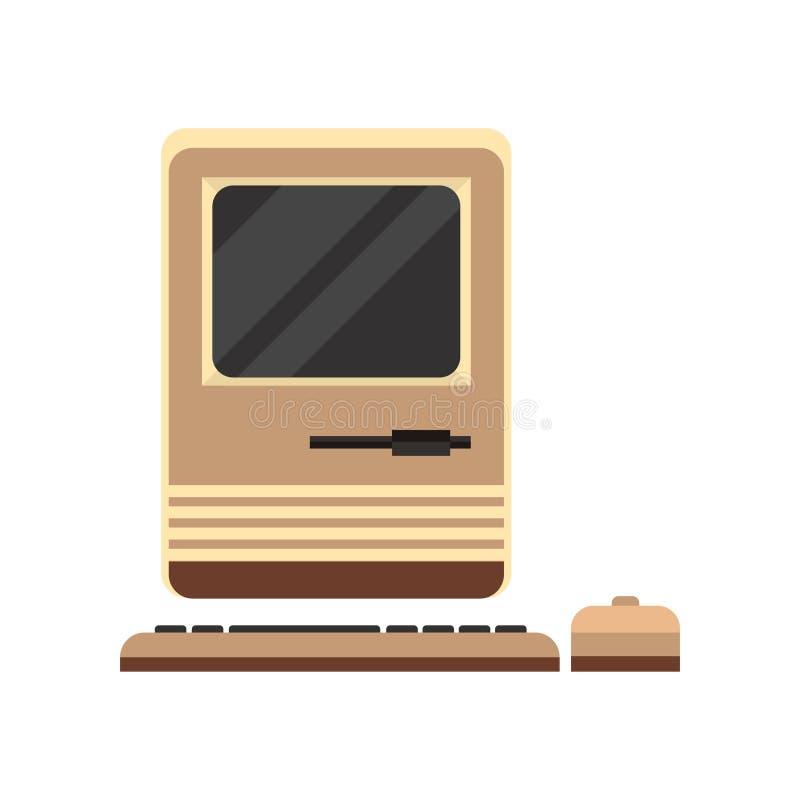 Vecchio topo con computer personale del woth, retro illustrazione di vettore del PC su un fondo bianco illustrazione di stock