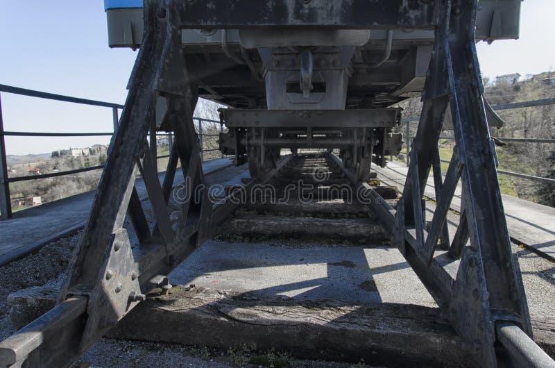 Vecchio trasporto ferroviario e vecchia traversina ferroviaria fotografia stock