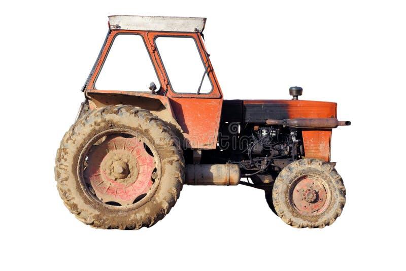 Vecchio trattore isolato fotografia stock libera da diritti