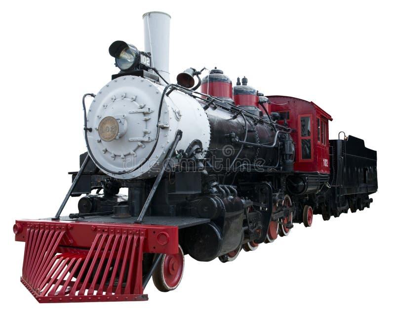 Vecchio treno della locomotiva di vapore dell'annata isolato, bianco immagini stock
