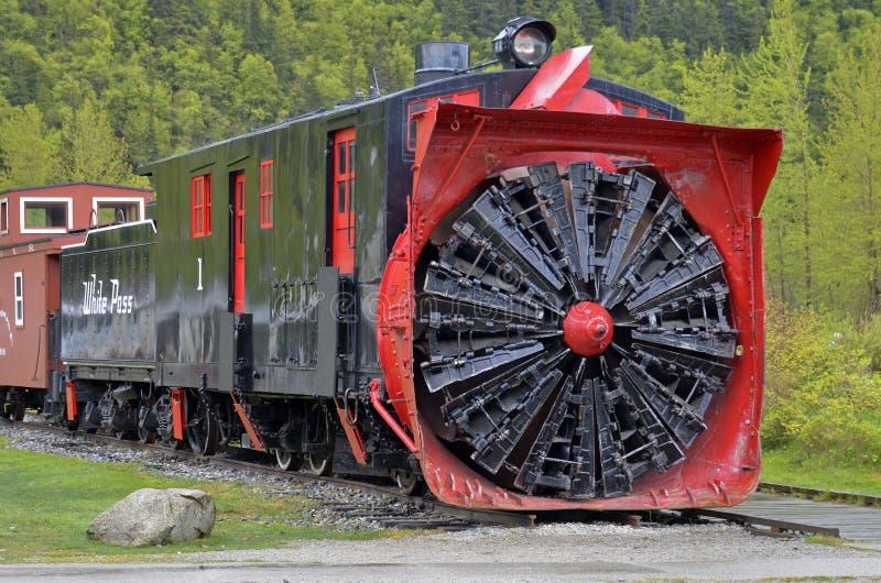 Vecchio treno dello spazzaneve, Skagway, Alaska fotografie stock
