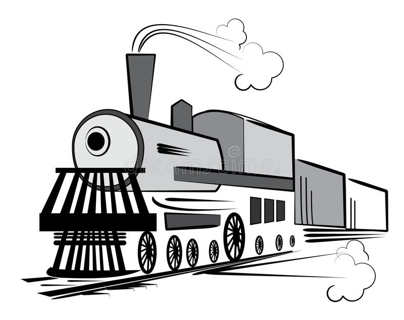 Vecchio treno di vettore illustrazione di stock