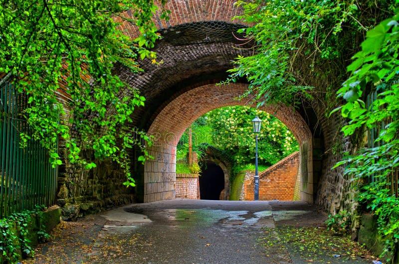 Vecchio tunnel nel giardino fotografia stock libera da diritti