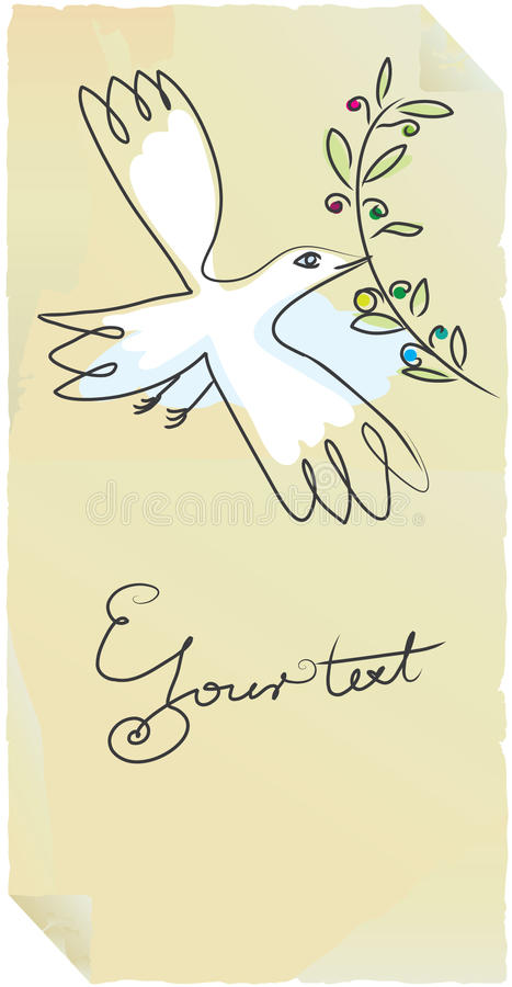 Vecchio uccello di pace del contrassegno con oliva royalty illustrazione gratis