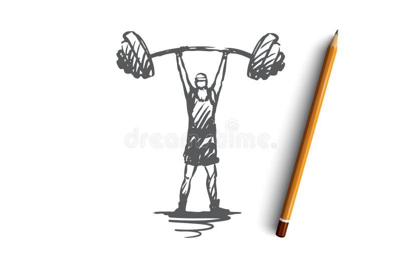 Vecchio, uomo, bilanciere, peso, forte concetto Vettore isolato disegnato a mano illustrazione vettoriale