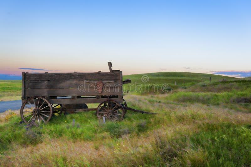 Vecchio vagone su Dallas Ranch nel parco di stato di Columbia Hills immagini stock libere da diritti