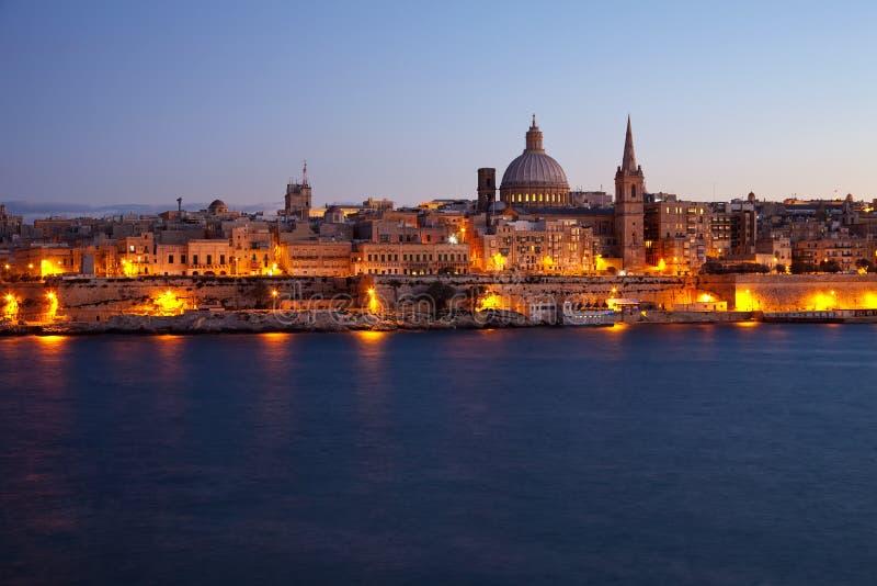 Vecchio Valletta nel crepuscolo fotografia stock libera da diritti
