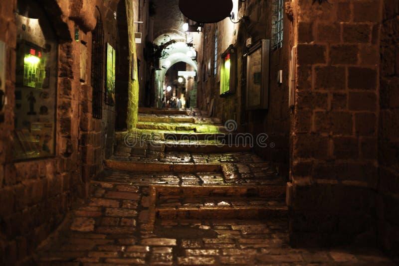 Vecchio vicolo di sera di Giaffa fotografia stock