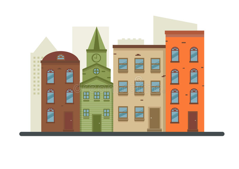 Vecchio villaggio dettagliato adorabile della città royalty illustrazione gratis