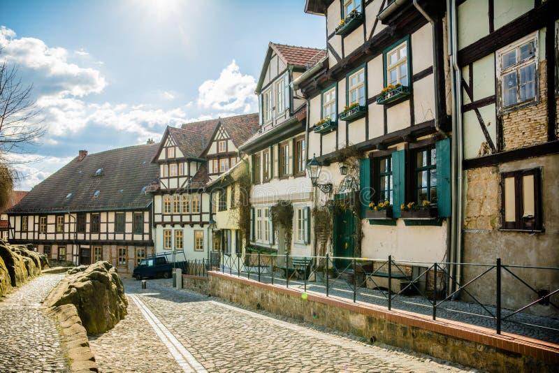 Vecchio villaggio di Quedlinburg, Germania fotografie stock libere da diritti