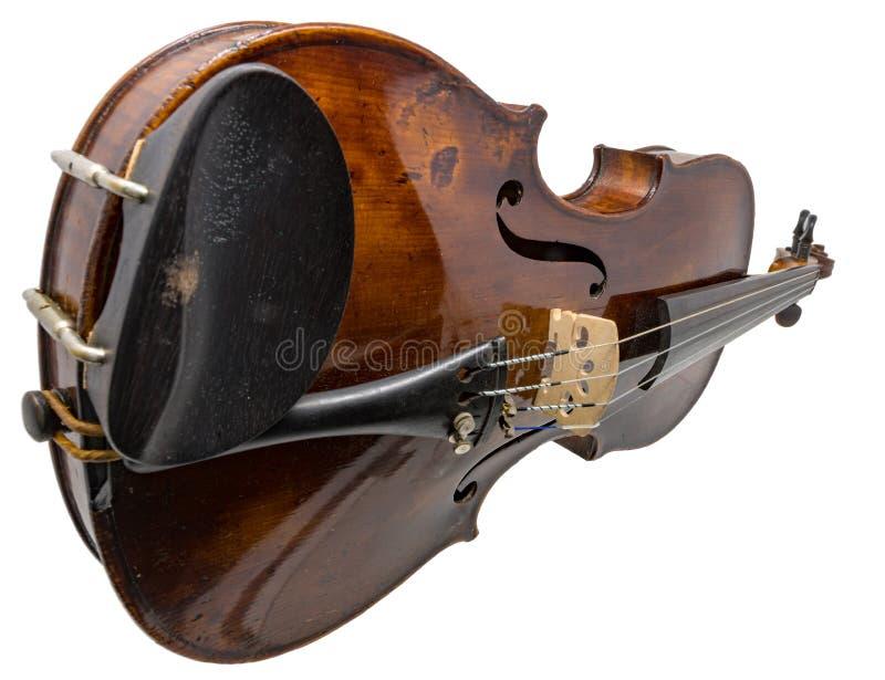 Vecchio violino antico marrone scuro isolato su bianco fotografia stock libera da diritti