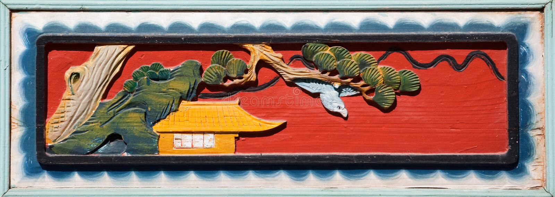 Vecchio woodcarving cinese fotografia stock