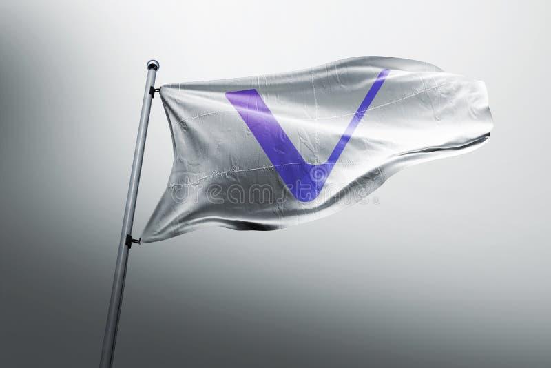 Vechain狩医在旗子的cryptocurrency象 库存例证