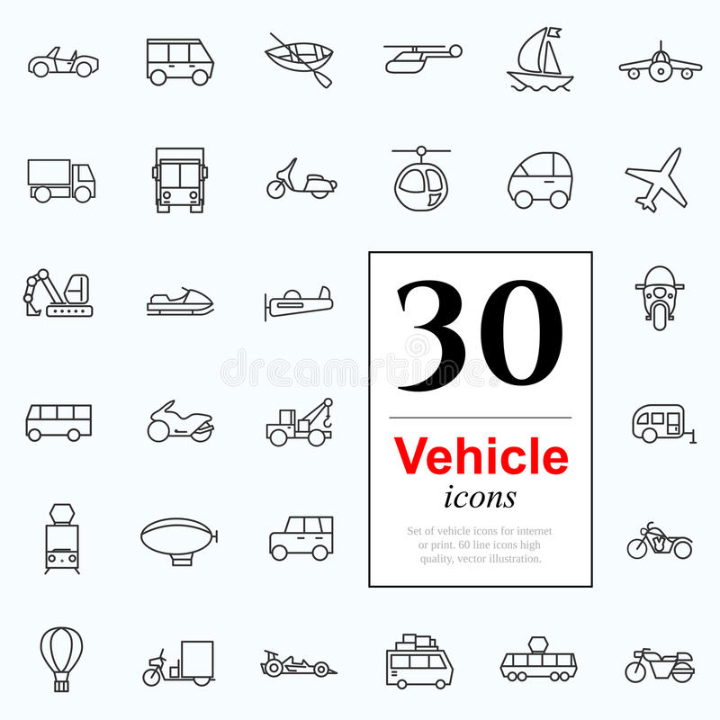 30 vechile icons. Set of transport icons for web or services. 30 design line vechile icons high quality, vector illustration vector illustration