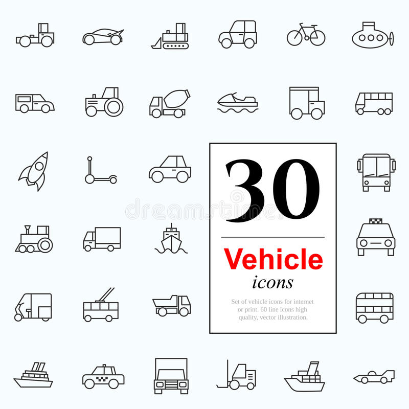 30 vechile icons. Set of transport icons for web or services. 30 design line vechile icons high quality, vector illustration stock illustration