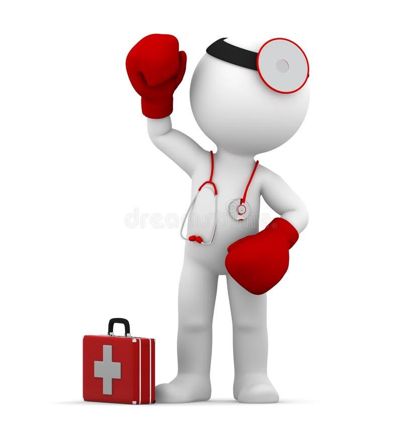 Vechtende arts. Conceptuele medische illustratie stock illustratie