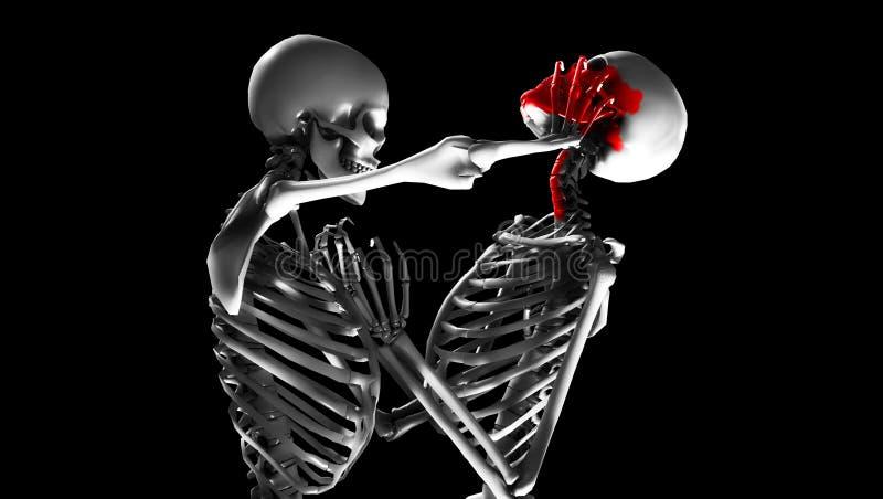 Vechtende Skeletten stock illustratie