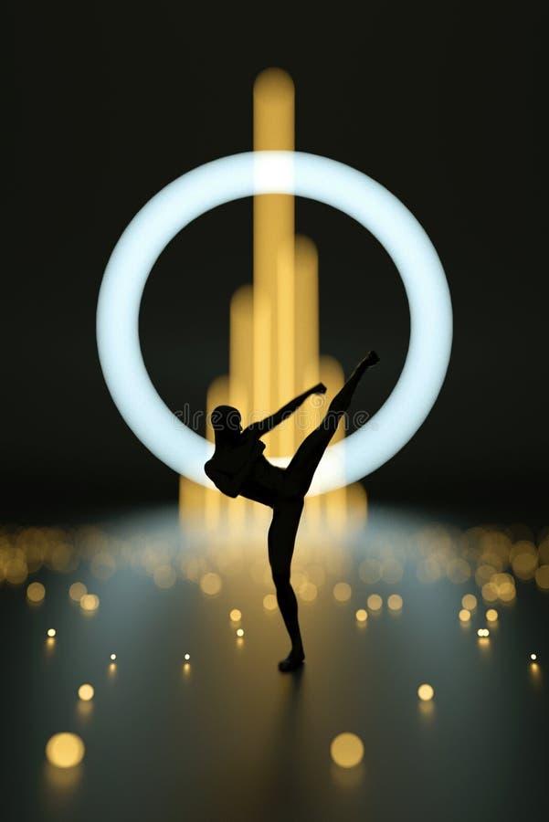Vechter die karate uitvoeren Het abstracte zwarte plastic silhouet van de menselijk lichaamsvechter Stelt de actie hoge schop stock foto