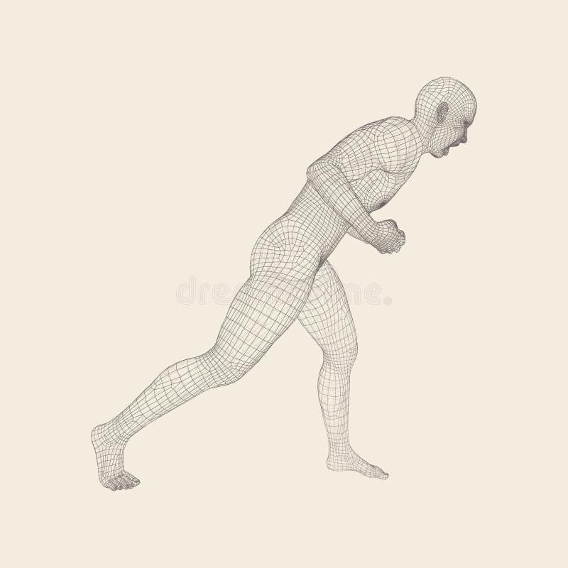 vechter Fitness sporten Chinese kinderen KONGFU 3D Model van de Mens Menselijk lichaam Sportensymbool Het element van het ontwerp royalty-vrije illustratie