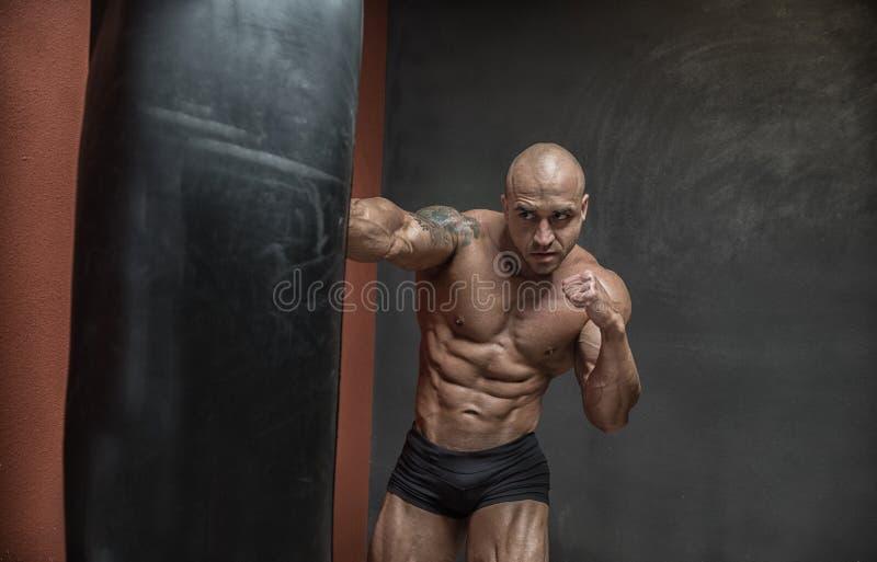 Vechter gemengde vechtsporten die in de gymnastiek opleiden stock afbeelding