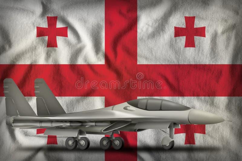 Vechter, interceptor op de de vlagachtergrond van de staat van Georgië 3D Illustratie stock illustratie