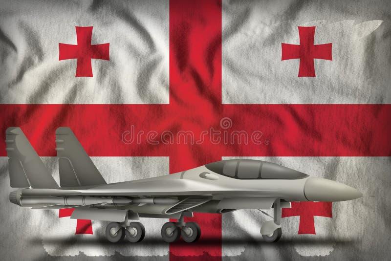 Vechter, interceptor op de de vlagachtergrond van de staat van Georgi? 3D Illustratie stock illustratie