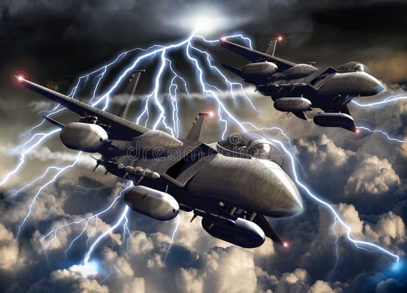 Vechter-vliegtuigen onder het onweer stock illustratie
