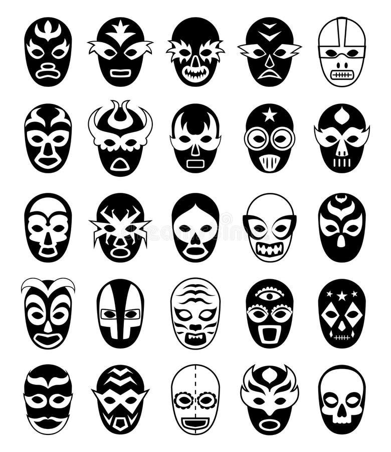 Vechtersmaskers Mexicaanse lucha libre silhouetten van vector gemaskeerde geïsoleerde luchador vector illustratie