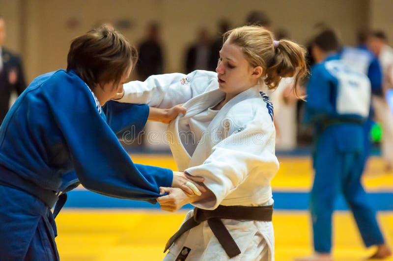 Vechtersmeisje in Judo royalty-vrije stock foto's