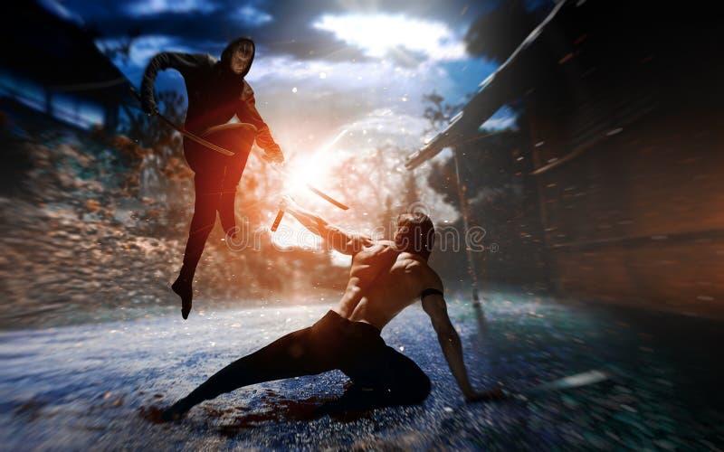Vechtersninja met zwaard stock afbeelding
