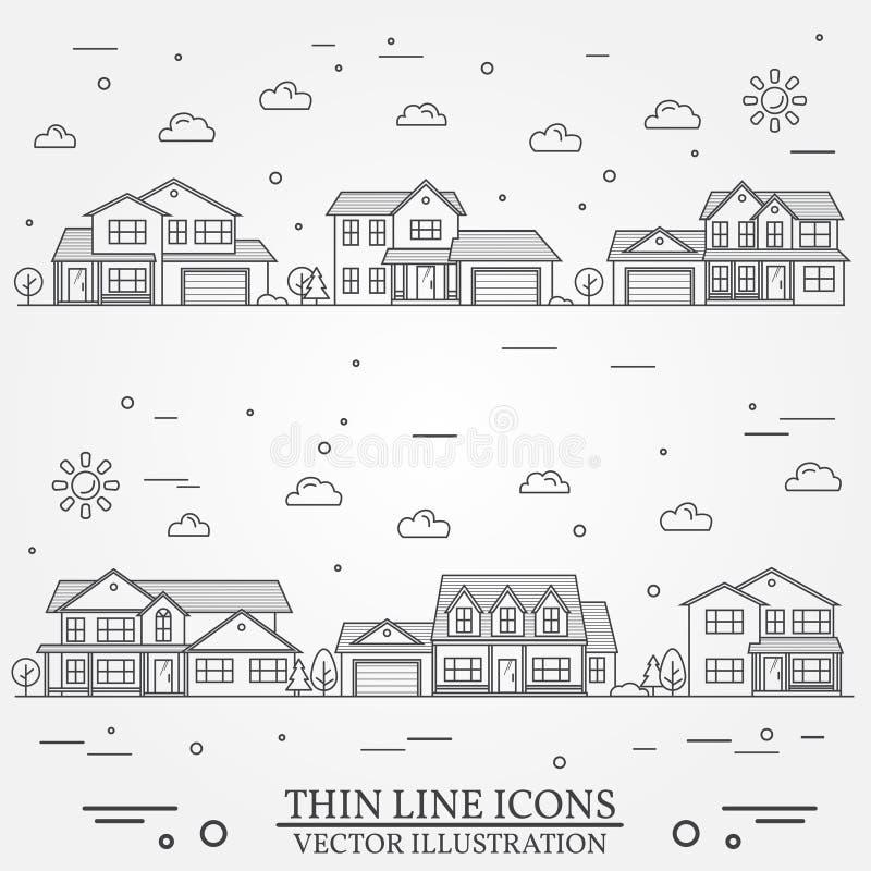 Vecindad con los hogares ilustrados en blanco stock de ilustración