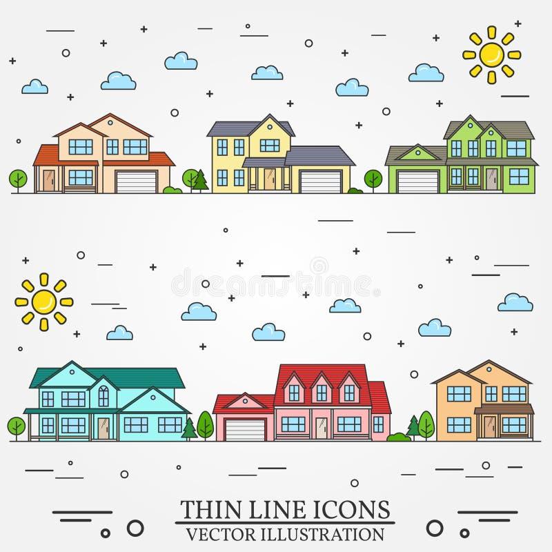 Vecindad con los hogares ilustrados en el fondo blanco libre illustration