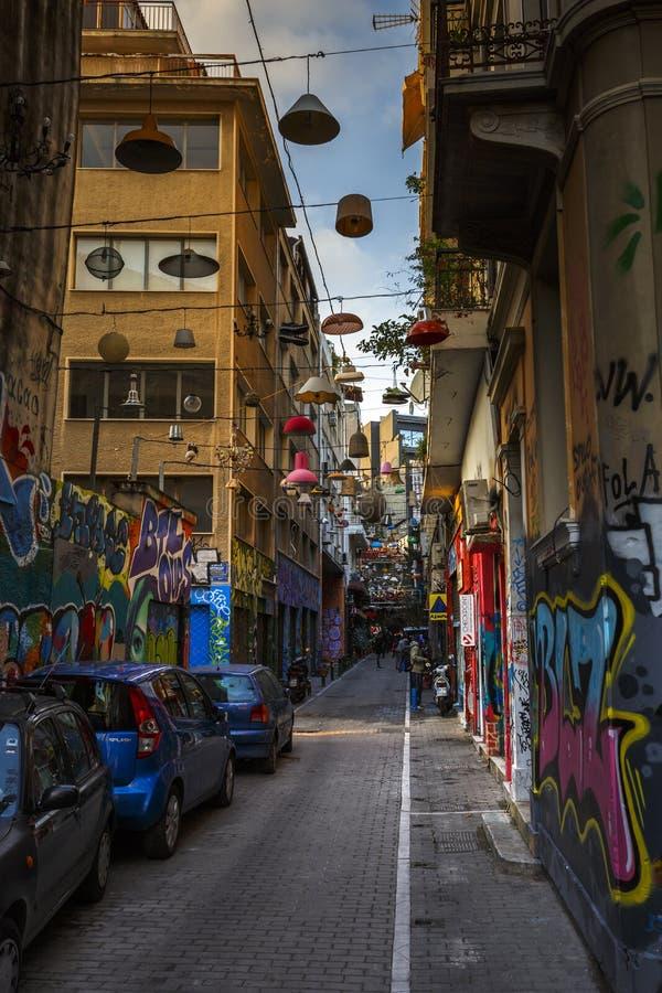 Vecindad de Psirri en Atenas fotografía de archivo libre de regalías