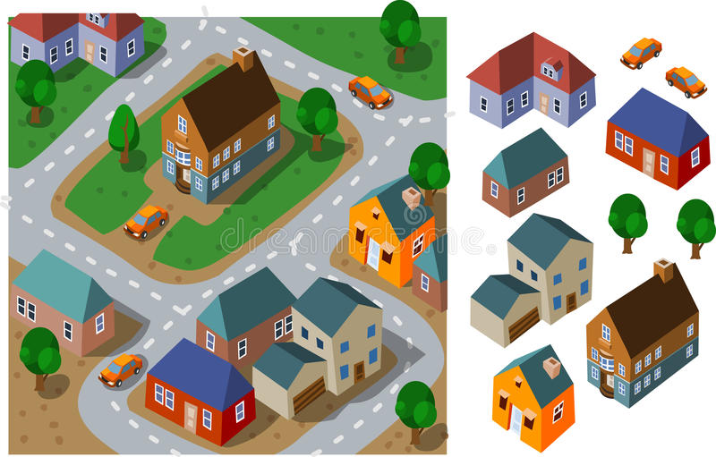 Vecindad isométrica stock de ilustración