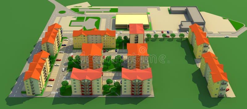 Vecindad residencial ilustración del vector