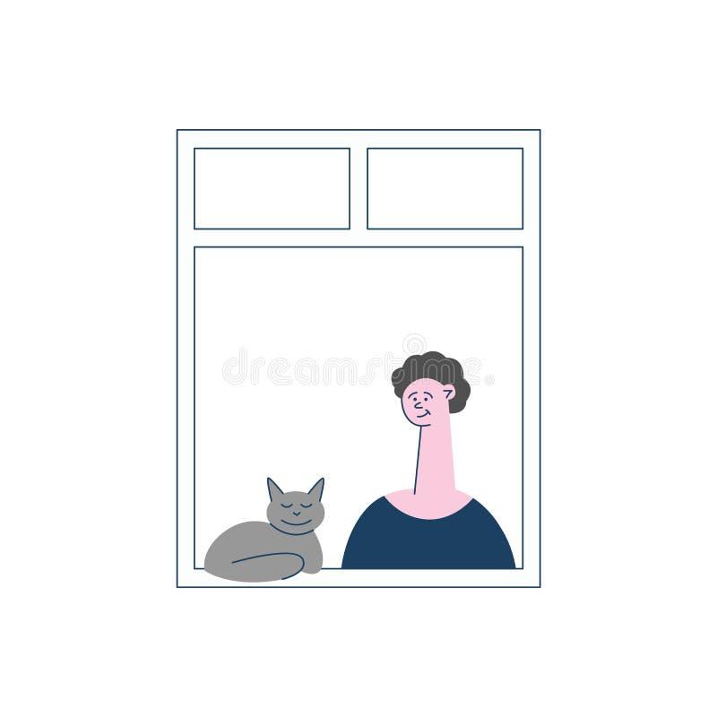 Vecino plano del vector que mira hacia fuera las ventanas stock de ilustración
