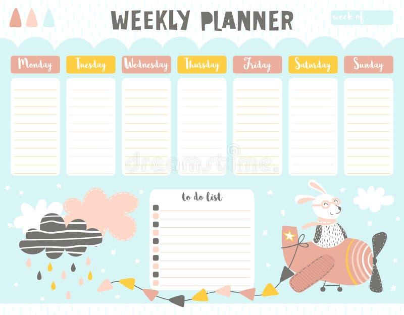 Veckokalenderstadsplanerare med harepiloten stock illustrationer