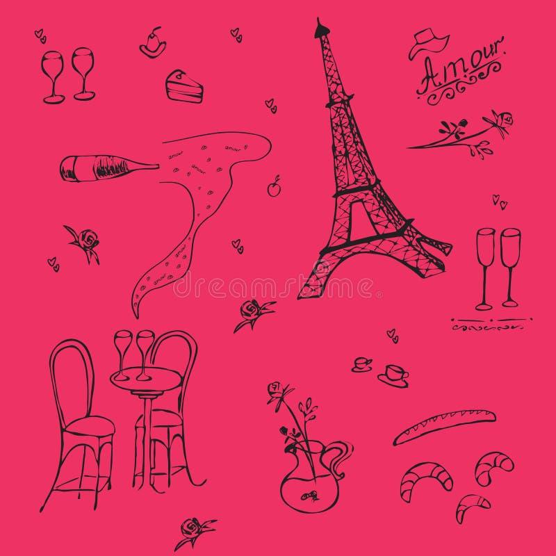 Vecor grafisk textur i fransk stil vektor illustrationer
