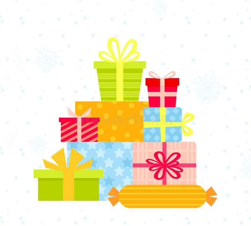 Vecor illustration of big pile of colorful and bright wrapped gift boxes decorated with ribbon, textures, bows and stock illustration