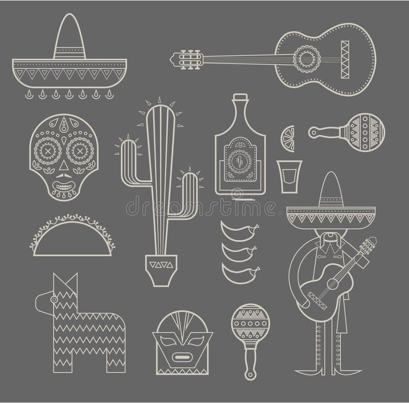 Mexiko-Ikonen stock abbildung
