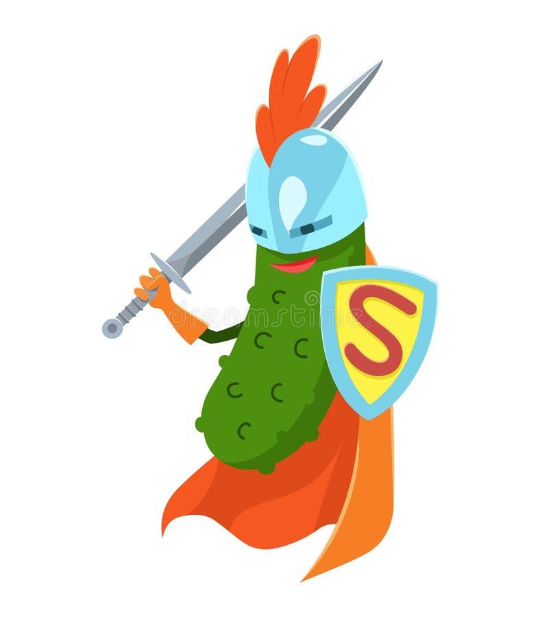 Vecor-Illustration mit Karikatur-dem flachen Gurken-Superheldcharakter, Gemüse in der Maske und in lustigem Zitat so frisch vektor abbildung