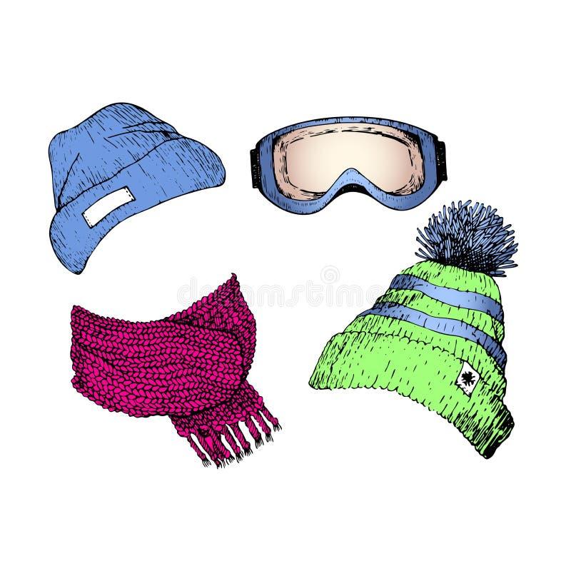 Vecor-Satz Hand gezeichnete Skikleidungsikonen Gestrickter Schal, Beanies, Schutzbrillenmaske Gravierte farbige Illustration vektor abbildung