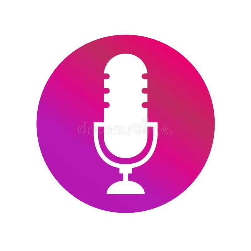 Vecor van het Podcast radiopictogram op witte achtergrond De microfoon van de studiolijst stock illustratie