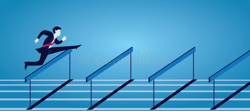 Vecorillustratie, zakenman het lopen die over hindernishindernissen springen op spoor royalty-vrije illustratie