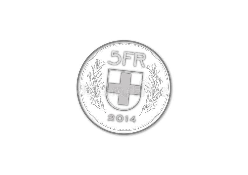 Vecotr de cinco francos suíços ilustração stock